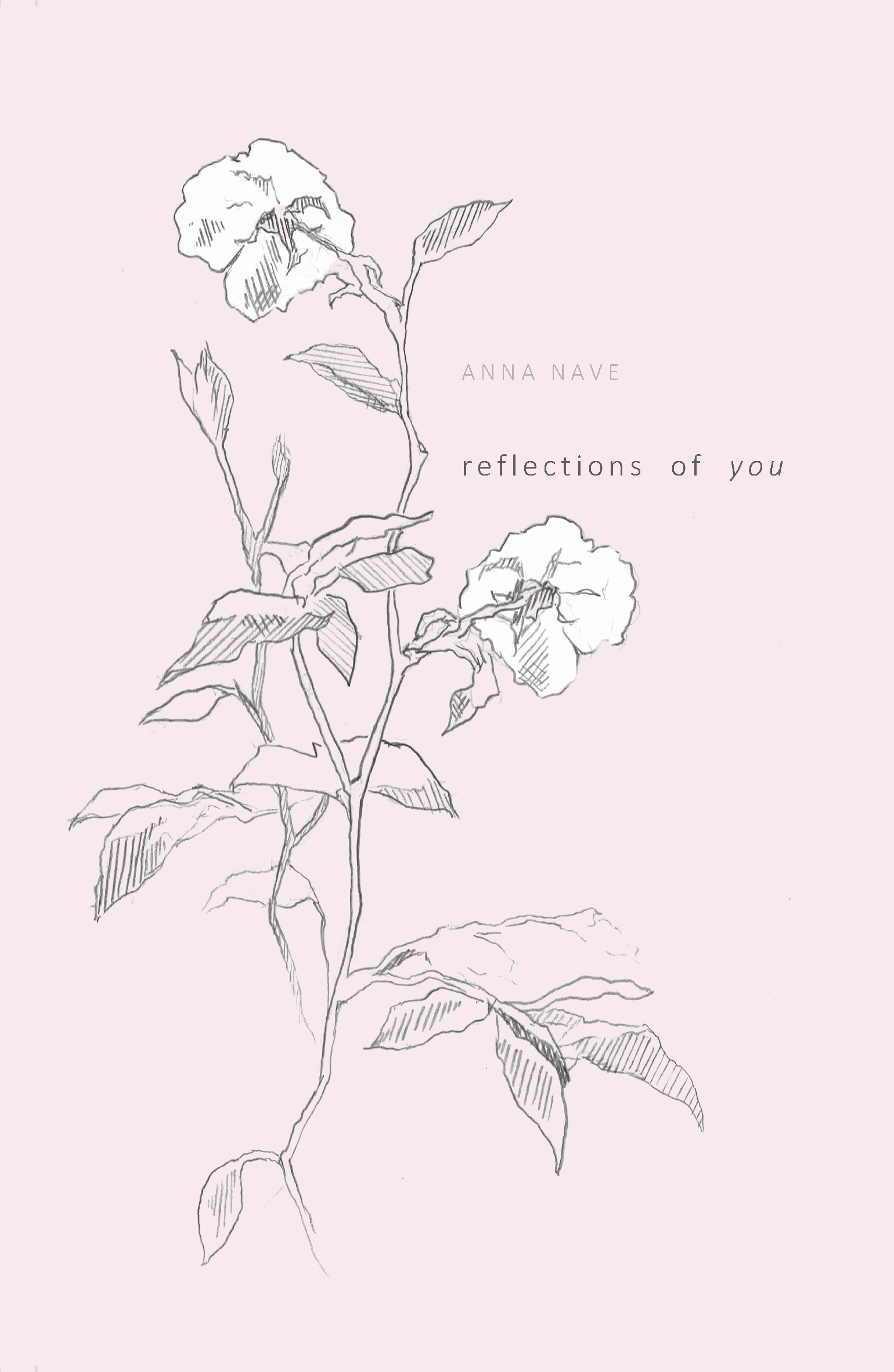 Buchcover von Reflectins of you. Rosa mit gezeichneter Blume darauf. Book cover of Reflections of You. Pastel pink with a drawing of a flower.